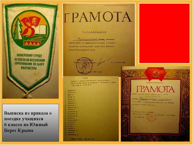 Выписка из приказа о поездке учащихся 6 класса на Южный Берег Крыма