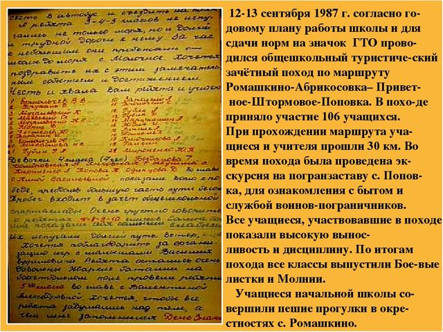 12-13 сентября 1987 г. согласно го-довому плану работы школы и для сдачи нор...