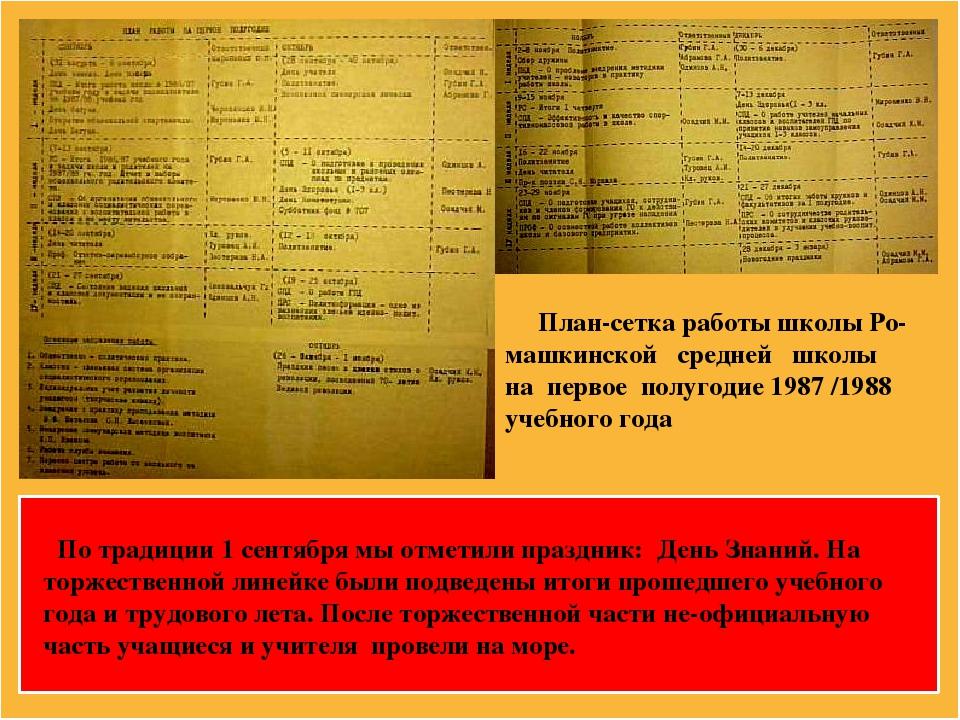 План-сетка работы школы Ро- машкинской средней школы на первое полугодие 198...