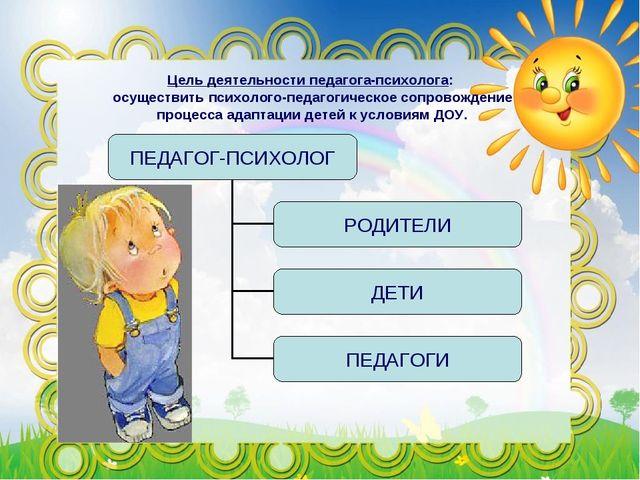 Цель деятельности педагога-психолога: осуществить психолого-педагогическое со...