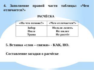 4. Заполнение правой части таблицы: «Чем отличается?» РАСЧЁСКА 5. Вставка «сл