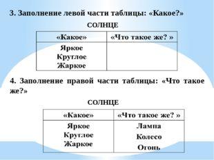 3. Заполнение левой части таблицы: «Какое?» СОЛНЦЕ 4. Заполнение правой части
