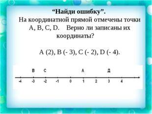 """""""Найди ошибку"""". На координатной прямой отмечены точки А, В, С, D. Верно ли з"""