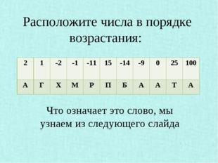 Расположите числа в порядке возрастания: Что означает это слово, мы узнаем и