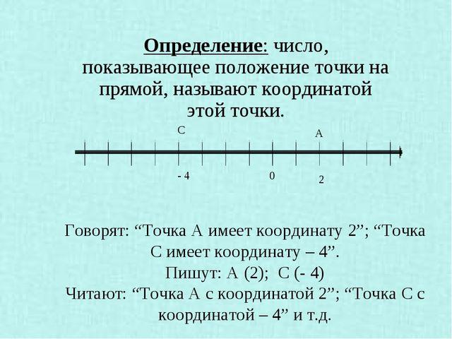 """Говорят: """"Точка А имеет координату 2""""; """"Точка С имеет координату – 4"""". Пишут..."""