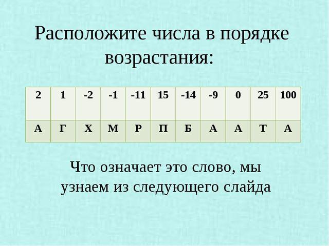 Расположите числа в порядке возрастания: Что означает это слово, мы узнаем и...