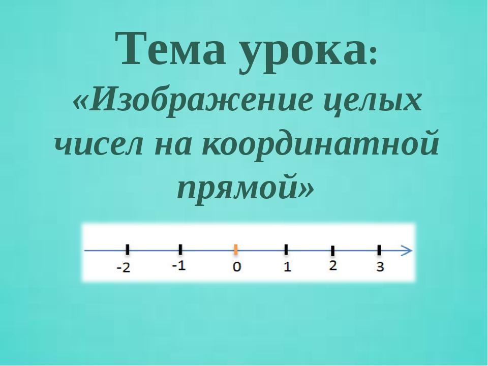 Тема урока: «Изображение целых чисел на координатной прямой»