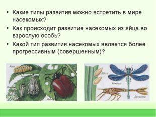 Какие типы развития можно встретить в мире насекомых? Как происходит развитие