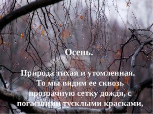 Осень. Природа тихая и утомленная. То мы видим ее сквозь прозрачную сетку дож