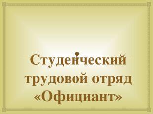 Студенческий трудовой отряд «Официант» 