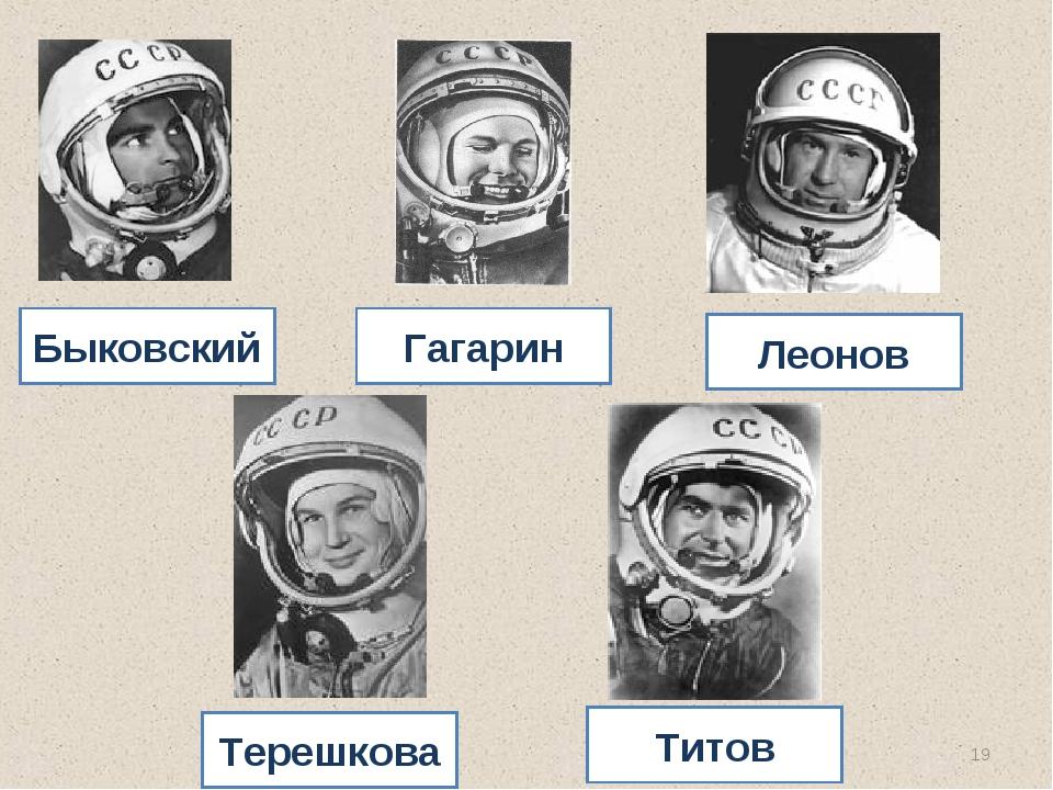 * Быковский Гагарин Леонов Терешкова Титов