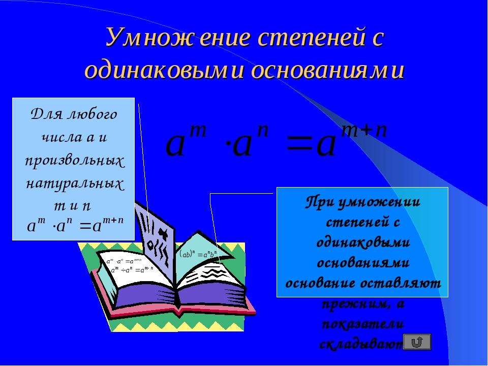 Умножение степеней с одинаковыми основаниями Для любого числа a и произвольны...