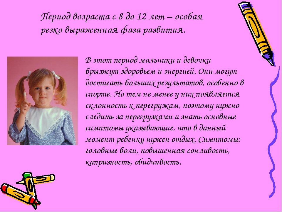Период возраста с 8 до 12 лет – особая резко выраженная фаза развития. В этот...