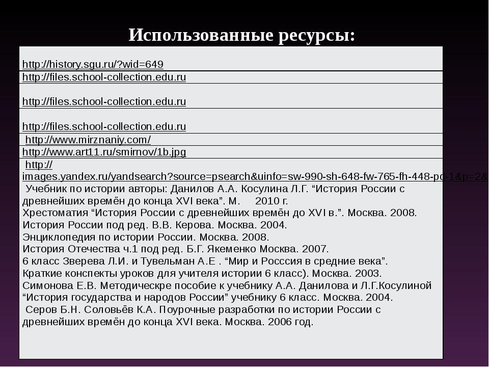 Использованные ресурсы: http://history.sgu.ru/?wid=649 http://files.school-co...