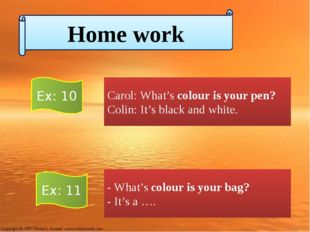Carol: What's colour is your pen? Colin: It's black and white. - What's colou