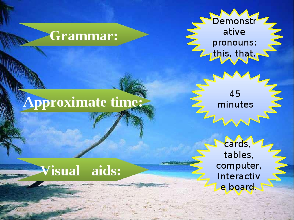 Grammar: Approximate time: Visual aids: Demonstrative pronouns: this, that. 4...