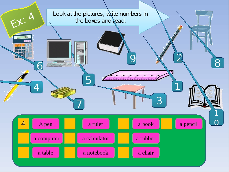 Look at the pictures, write numbers in the boxes and read. 1 5 9 2 4 8 7 10 3...