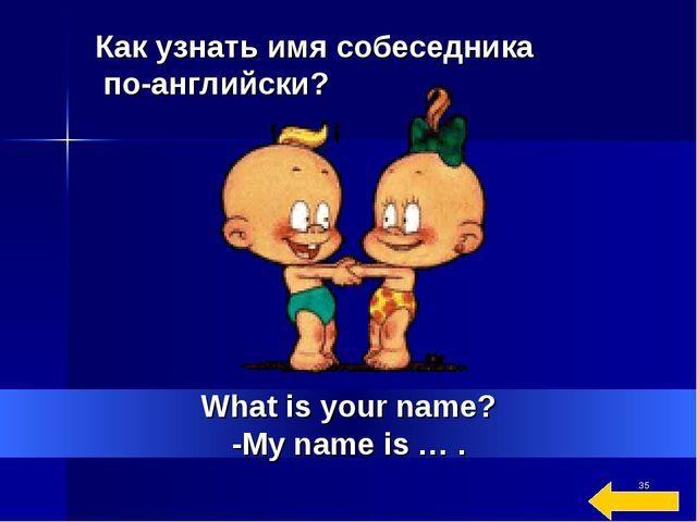 * What is your name? -My name is … . Как узнать имя собеседника по-английски?