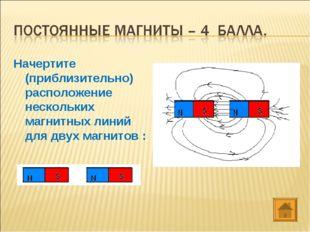 Начертите (приблизительно) расположение нескольких магнитных линий для двух м