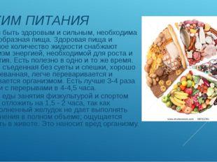 РЕЖИМ ПИТАНИЯ Чтобы быть здоровым и сильным, необходима разнообразная пища.