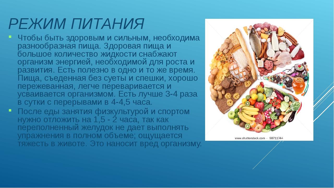 РЕЖИМ ПИТАНИЯ Чтобы быть здоровым и сильным, необходима разнообразная пища....