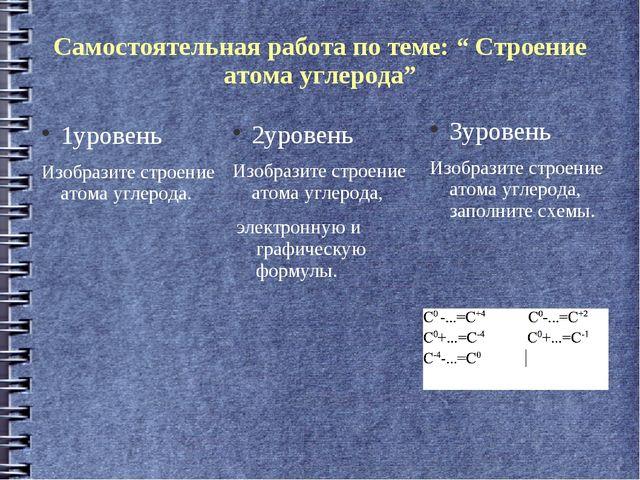 """Самостоятельная работа по теме: """" Строение атома углерода"""" 1уровень Изобразит..."""