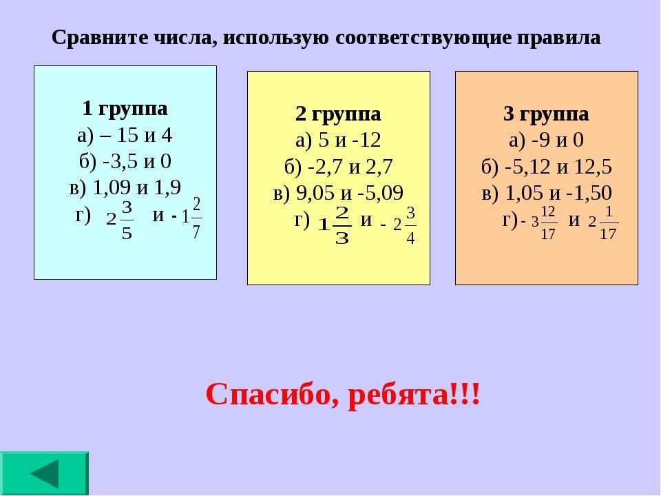 Сравните числа, использую соответствующие правила Спасибо, ребята!!! 1 группа...