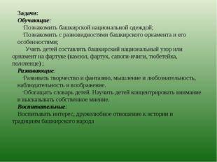 Задачи: Обучающие: Познакомить башкирской национальной одеждой; Познакомить с
