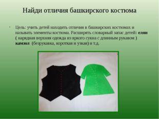 Найди отличия башкирского костюма Цель: учить детей находить отличия в башкир