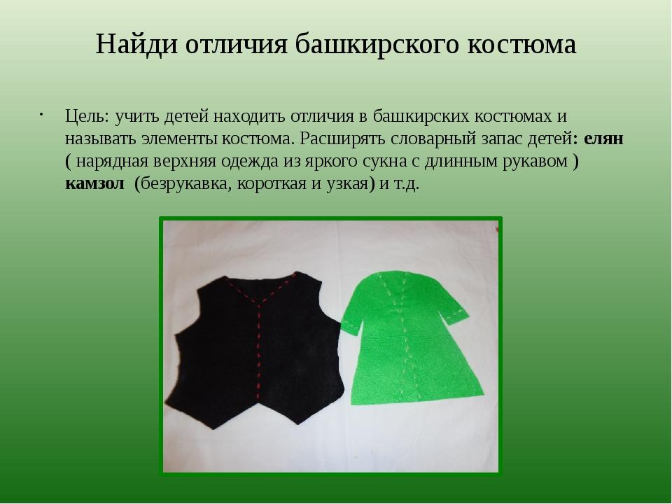 Найди отличия башкирского костюма Цель: учить детей находить отличия в башкир...