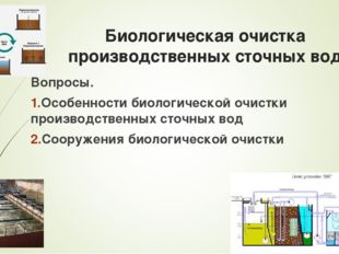 Биологическая очистка производственных сточных вод Вопросы. Особенности биоло