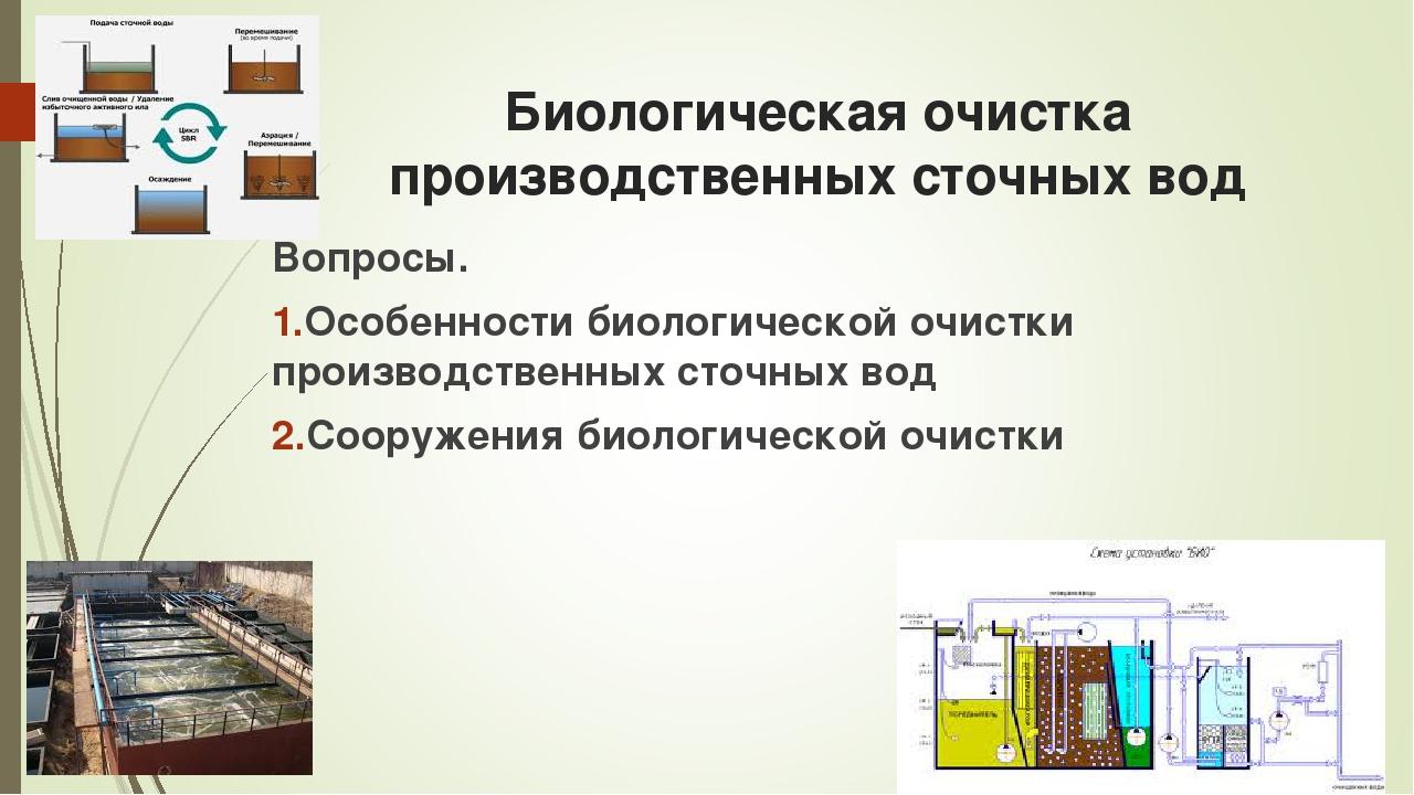 Биологическая очистка производственных сточных вод Вопросы. Особенности биоло...