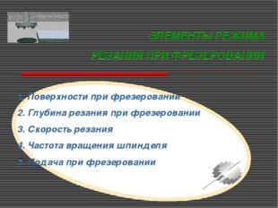 ЭЛЕМЕНТЫ РЕЖИМА РЕЗАНИЯ ПРИ ФРЕЗЕРОВАНИИ 1. Поверхности при фрезеровании 2. Г
