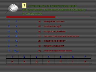 Установите соответствие между обозначениями элементов режимов резания и их н