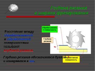 Глубина резания и ширина фрезерования Расстояние между Обрабатываемая поверхн