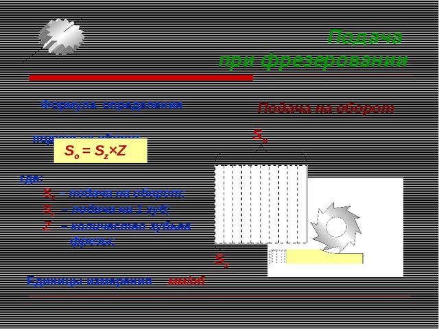 Подача при фрезеровании Формула определения подачи на оборот. Sо = Sz×Z где:...