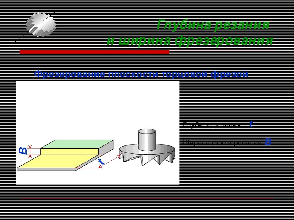 Глубина резания и ширина фрезерования Фрезерование плоскости торцовой фрезой...