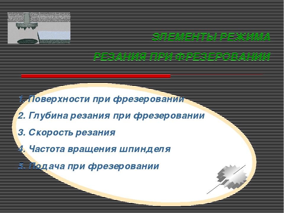 ЭЛЕМЕНТЫ РЕЖИМА РЕЗАНИЯ ПРИ ФРЕЗЕРОВАНИИ 1. Поверхности при фрезеровании 2. Г...