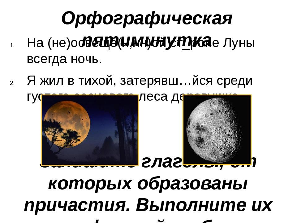 Орфографическая пятиминутка На (не)освещё(н,нн)ой ст_роне Луны всегда ночь. Я...