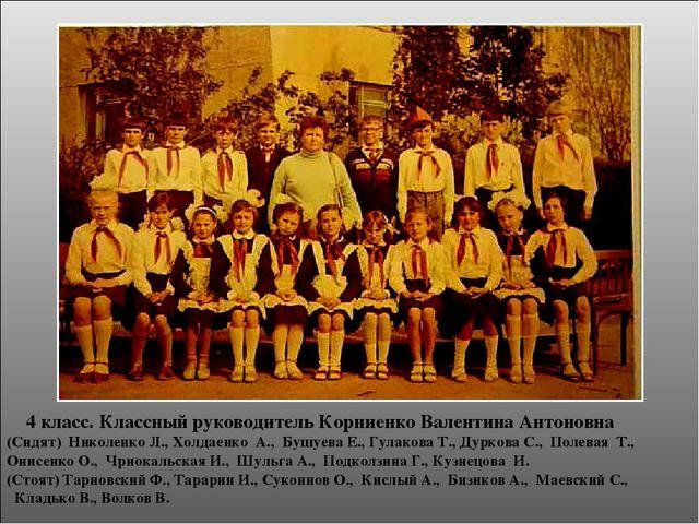 4 класс. Классный руководитель Корниенко Валентина Антоновна (Сидят) Николен...