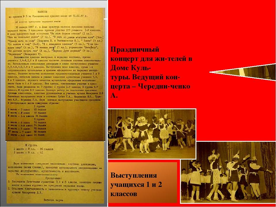 Выписка из приказа по школе от 31.01. 1987г. «Об итогах праздника народной п...