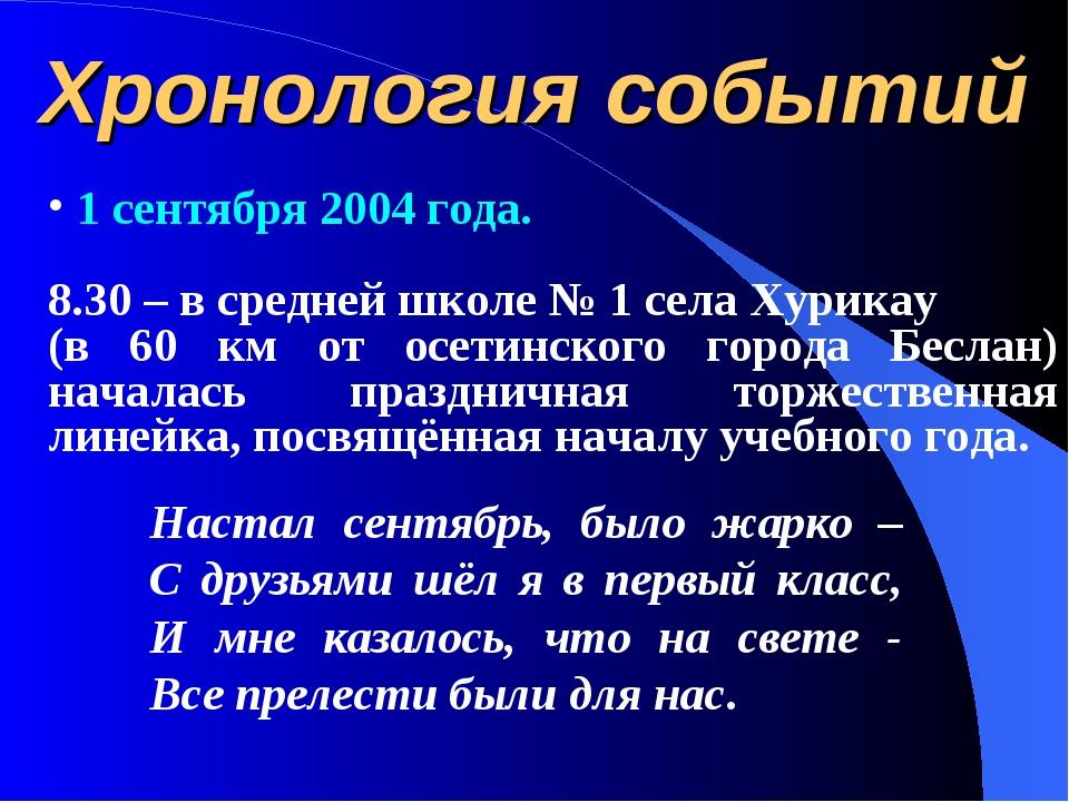 Хронология событий 1 сентября 2004 года. 8.30 – в средней школе № 1 села Хури...