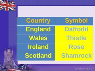 Country	Symbol England	Daffodil Wales	Thistle Ireland	Rose Scotland	Shamrock