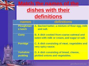 Match the names of the dishes with their definitions names	definitions Plough