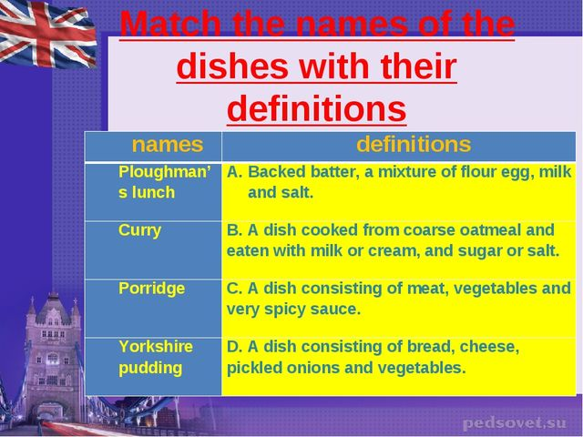 Match the names of the dishes with their definitions names	definitions Plough...