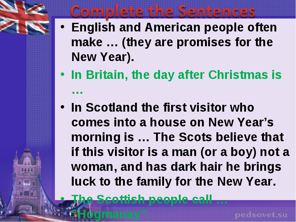 English and American people often make … (they are promises for the New Year)...
