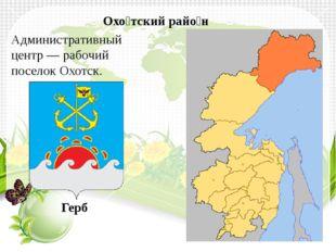 Административный центр—рабочий поселокОхотск. Охо́тский райо́н Герб