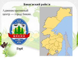 Административный центр—городБикин. Бики́нский райо́н Герб