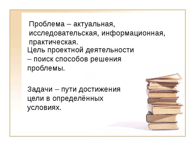 Проблема – актуальная, исследовательская, информационная, практическая. Цель...