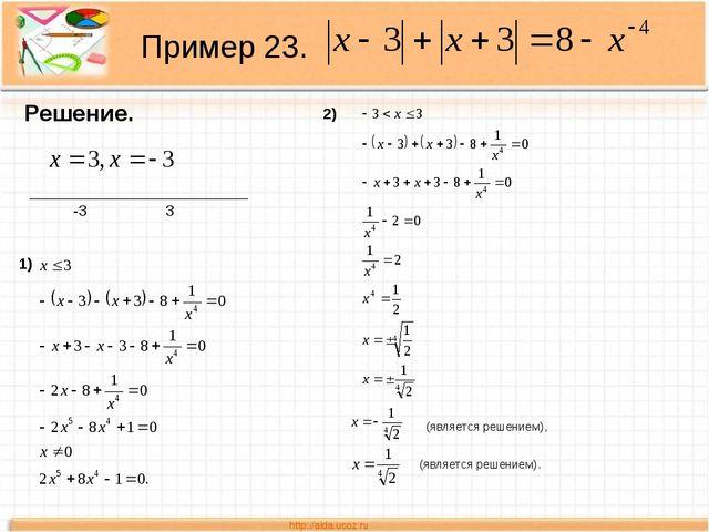 Пример 23. Решение. _________________________ -3 3 1) 2) (является решением),...